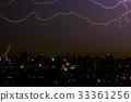 Dramatic thunder storm lightning bolt  33361256