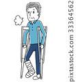 Senior man putting on a crutch 33364562