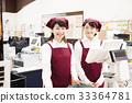 슈퍼 슈퍼마켓 계산대 점원 직원 여성 1 명 33364781