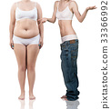 Woman's body before and after weight loss. 33366992