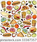 Vector cartoon flat fast food set isolated 33367357