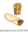 Vector doner kebab potato fry cartoon set isolated 33367358