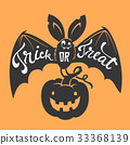 Funny cartoon smiling bat with spread wings and 33368139