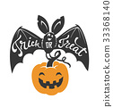 Cartoon flying bat with spread wings and Trick or 33368140