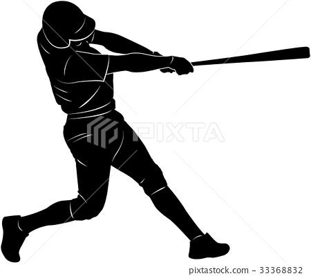 baseball player silhouette 33368832