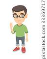 Caucasian little boy showing ok sign. 33369717