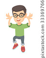 Funny caucasian boy in glasses teasing with hands. 33369766