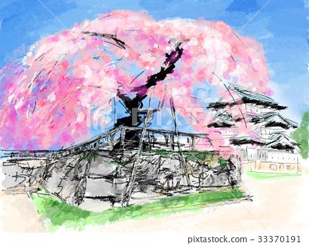 Sakura and Hirosaki Castle illustrations 33370191