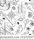 Marine tiled pattern. Sailing ship Seashell Anchor 33370307
