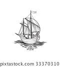 Sailing ship. Retro transport icon. Boat in ocean 33370310