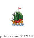Sailing ship. Retro transport icon. Boat in ocean 33370312