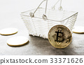 golden bitcoin coin with shopping basket   33371626