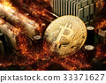 Burning golden bitcoin coin Crypto Currency  33371627