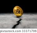 golden bitcoin coin on cracked concrete floor  33371706