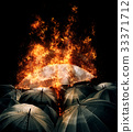 Burning umbrella lights glowing standing out   33371712