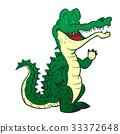 Alligator Cartoon - Line Drawn Vector 33372648