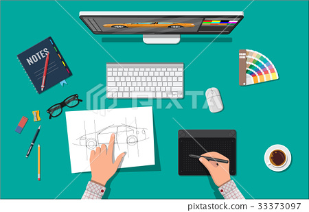 Designer workplace. Illustrator desktop with tools 33373097