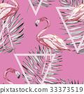 flamingo, palm, watercolor 33373519