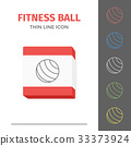 Simple line stroked fitness ball vector icon 33373924