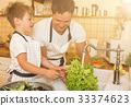Father with son washes vegetables before eating 33374623