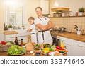 男孩 烹饪 父亲 33374646