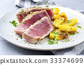 Tuna Steak with Fried Potatoes 33374699