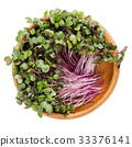 Red cabbage sprouts in wooden bowl over white 33376141