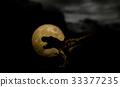 dinosaur with full moon, silhouette on dark night 33377235