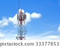Signal towers in the blue sky. 33377653