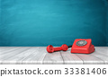 3d rendering of a bright red dial phone standing 33381406