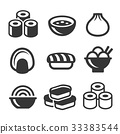 Japanese Sushi Food Icons Set. Vector 33383544