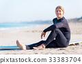 海滩 冲浪者 年轻 33383704