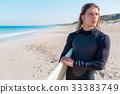 海滩 冲浪者 年轻 33383749