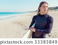 海滩 冲浪者 年轻 33383849