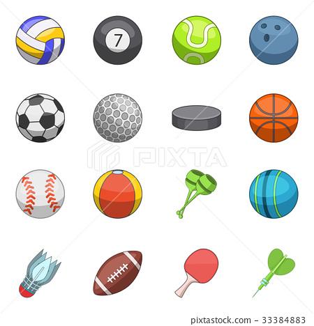 Sport balls icons set, cartoon style 33384883