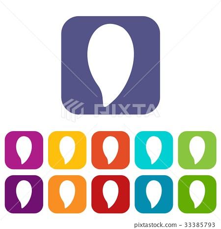 Almond nut icons set flat 33385793