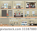 Hotel interior set with reception. 33387880