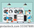 Maid loading laundry washing machine with cloth. 33387886