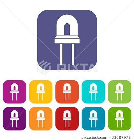 Halogen lamp icons set 33387972