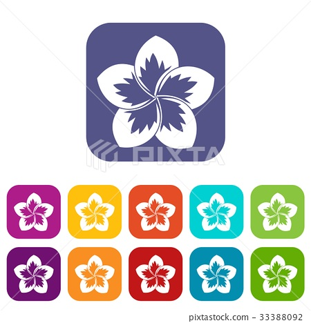 Frangipani flower icons set 33388092