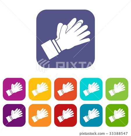 Clapping applauding hands icons set 33388547