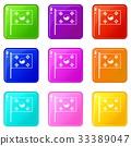 South Korea flag icons 9 set 33389047