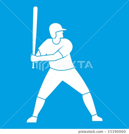 Baseball player with bat icon white 33390060