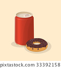 Donut with soda in a tin can - cute cartoon 33392158