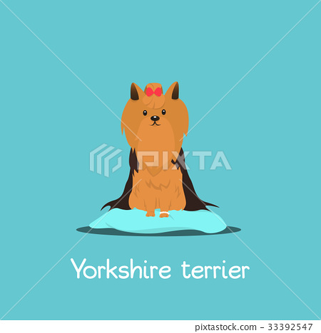 An Illustration Depicting A Cute Yorkshire Terrier Stock