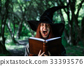 Portrait of young screaming witch 33393576