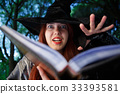 Photo close-up of witch reading spell 33393581