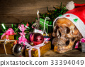 Still Life with human Skull in chrismas day  33394049