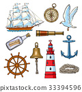 nautical, cartoon, vector 33394596