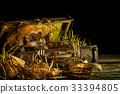 Still life with human skull with old treasure ches 33394805